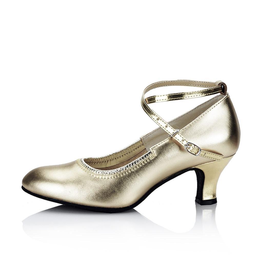 BYLE Leder Sandalen Riemchen Samba Modern Jazz Jazz Jazz Dance Schuhe Leder Tanz Schuh im Sommer Nach Weichen Goldenen 5 5CM f0bf50