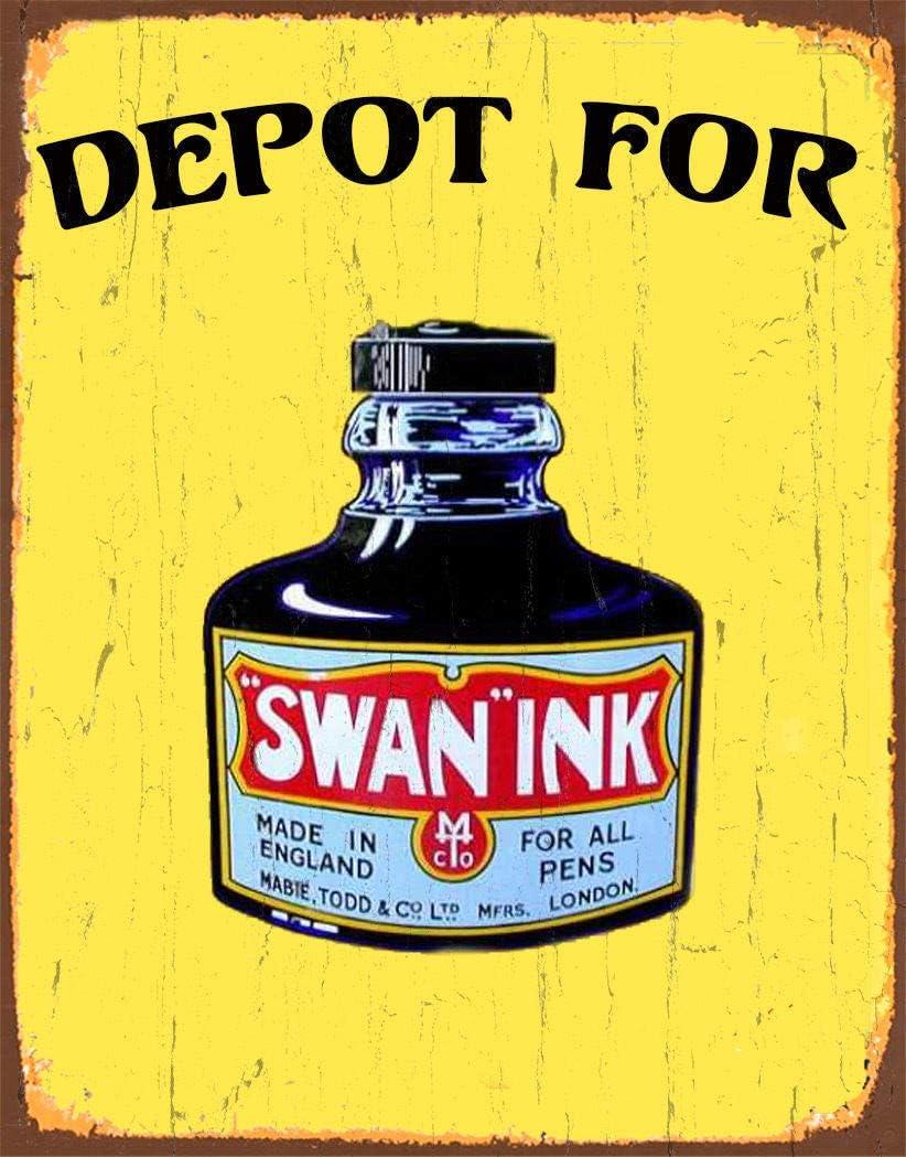 Depot for Swan Ink Cartel de Chapa Retro, Cartel de Pared, Placa de Metal Vintage, Garaje, Oficina en casa, Bar, cafetería, decoración, 20 × 30 cm
