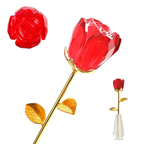 Amazon Glass Rose Flower With Vaselong Stem Gold Coated