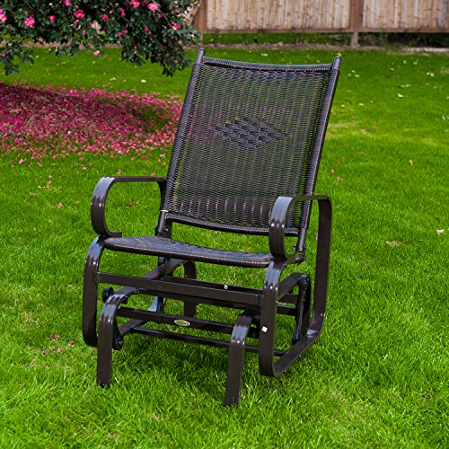 SunLife Porch Patio Glider Rocking Chair,PE Rattan Wicker Steel Frame Lawn Indoor Furniture - Amish Bench