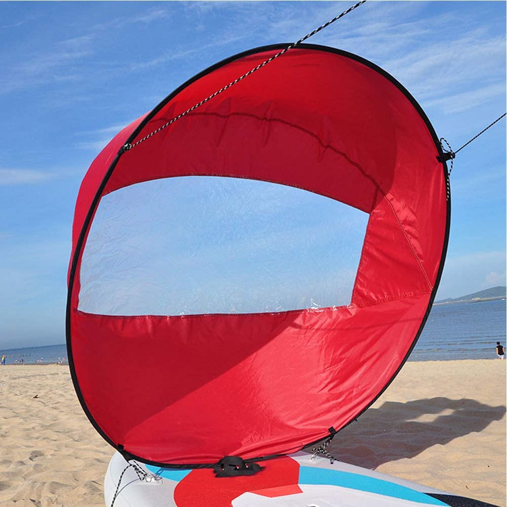 iUnisy 42in//108cm Sail Foldable Kayak Boat Wind Sail Sup Paddle Board Sailing Canoe Stroke Paddle Rowing Boats Wind Clear Window Blue 108cm