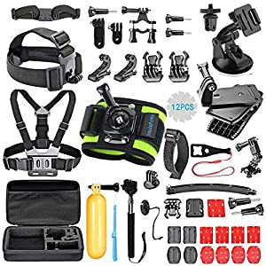 SmilePowo Outdoor Sports Camera Accessory Kit for GoPro Hero5 Black, Hero5 Session, Hero 4 Silver Black, Hero Session, Hero3+ 3 2 1, SJ,Xiaomi,AKASO,DBPOWER,Lightdow,Camera (51-in-1)