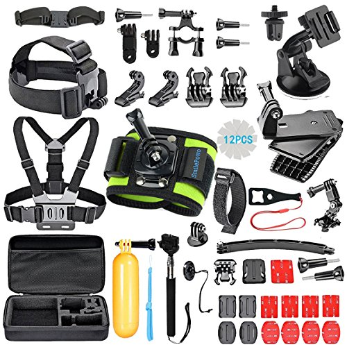 SmilePowo Outdoor Sports Camera Accessories for GoPro Hero 5 / Session 5/4/3/2/1,AKASO,SJCAM, Carrying Case,Camera Bundle (51-in-1)