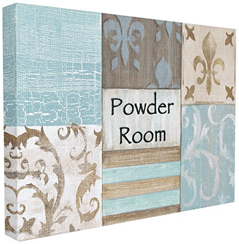 The Stupell Home Decor Collection Fleur de Lis Powder Room Blue, Brown and Beige Wall Plaque, 16