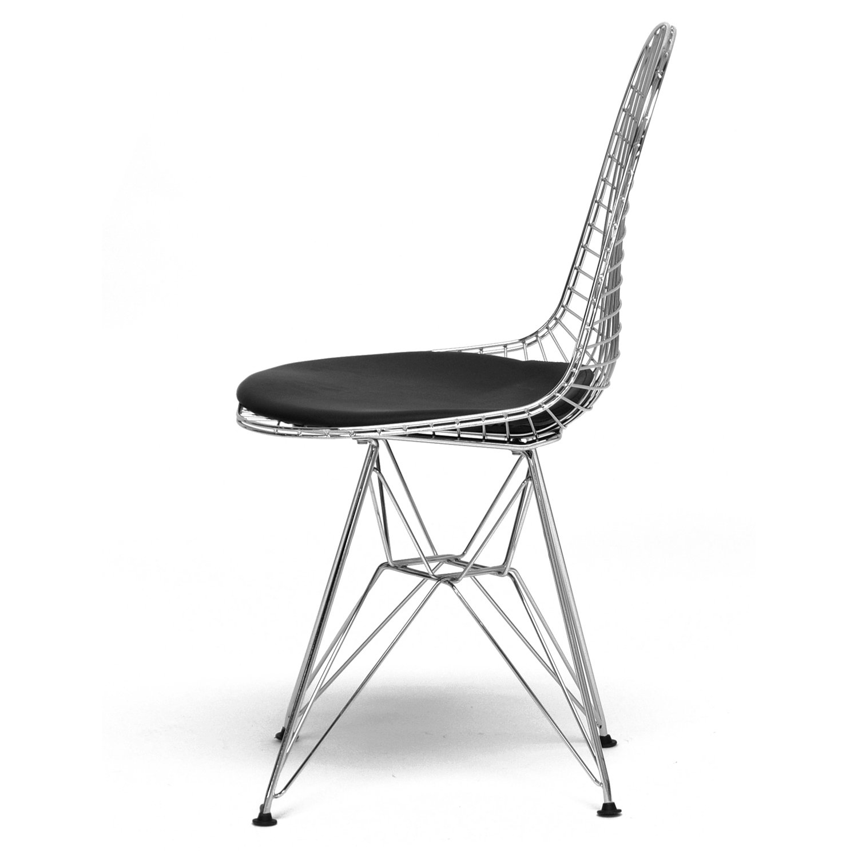 Amazon.com   Baxton Studio Avery Mid Century Modern Wire Chair With Black  Cushion   Chairs