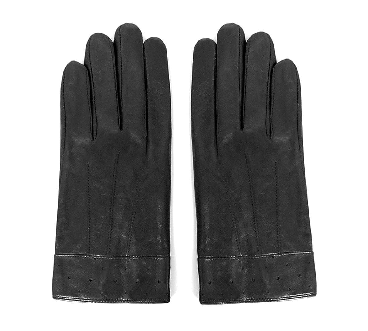 MATSU Men Winter Warm Lambskin Leather Nylon Lined Gloves M1101