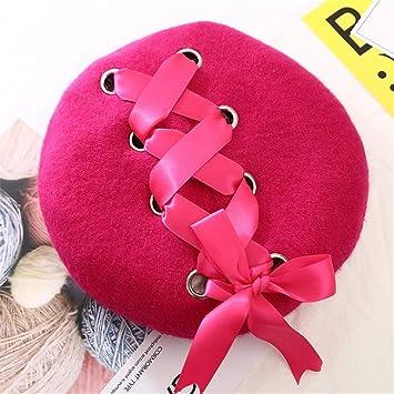 fa01cde037953 Amazon.com   New Sweet Cute Berets Women Winter Hats Soft Macaron Color  Ribbon Woolen Lolita Beret Classical Soft Straps Cross Bow fushia   Beauty
