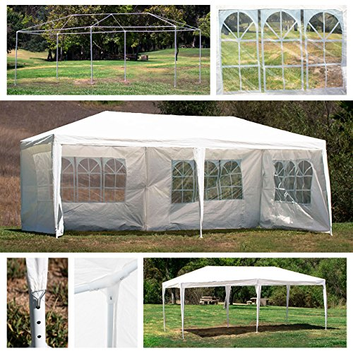 Belleze 10 x 20 ft XL Heavy Duty Outdoor Canopy Tent Wedding Party Gazebo With Shade Wall Window Backyard, White by Belleze