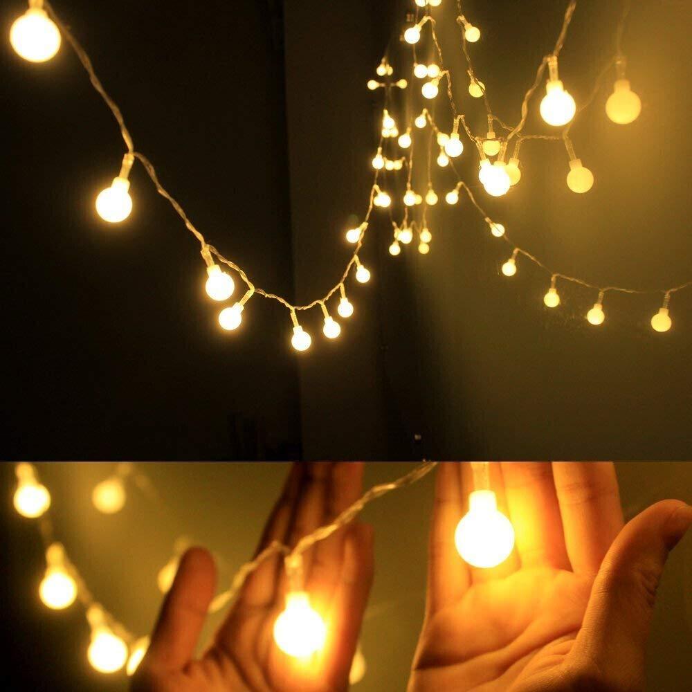 Dailyart - Guirnarldas blancas de luz calida efecto estrellado (Jardines, Casas, boda, fiesta de Navidad) 1