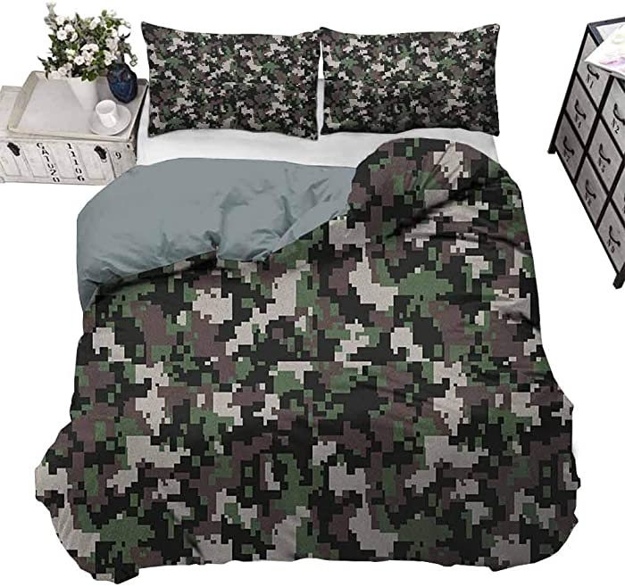 Duvet Cover Camo for Luxury Guest Room Decor Pixelated Pattern Digital Effect Modern Conceptual Camouflage Texture Army Green Beige Brown Decorative 3 Piece Bedding Set with 2 Pillow Shams, Queen Size