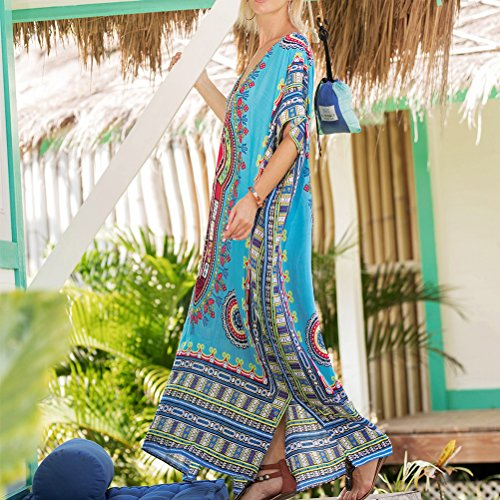 t Robes Zhuhaitf pour Plage Bleu Tissus Doux Kaftan Elegante Style Imprim Casual Boho Femmes Africain O4OfgH1