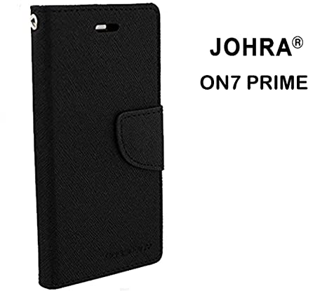 Johra reg; Luxury Mercury Diary Wallet Style Black Flip Cover Case for Samsung Galaxy On7 Prime Flip Cover Cases   Covers