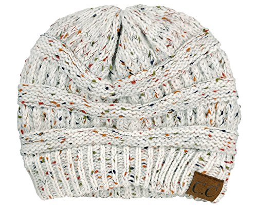 C.C Unisex Colorful Confetti Soft Stretch Cable Knit Beanie Skull Cap - Ivory