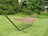 Two Person Brown Rope Hammock Set with 15 Foot Long Iron Stand