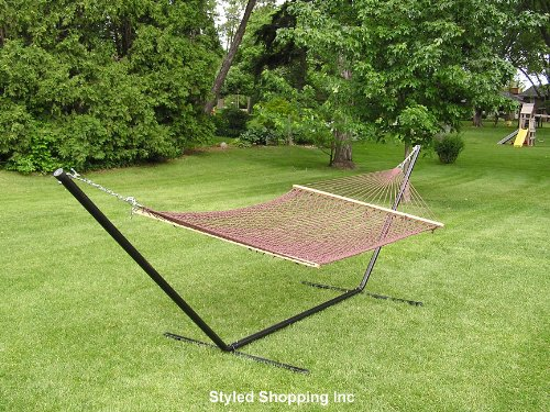 Two Person Brown Rope Hammock Set with 15 Foot Long Iron ...