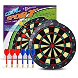BETTERLINE Soft Tip Dart Board Game Set - 15 inch Board (37.5cm) with 6 Darts - Child & Furniture Safe Dartboard for Kids & Adults by