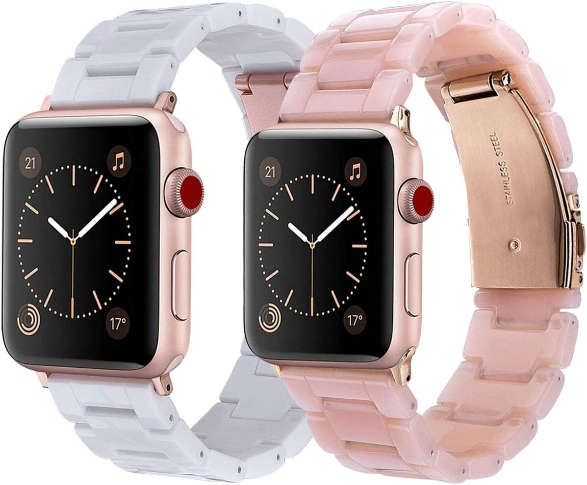 V-MORO Resin Strap Compatible with Apple Watch Band 38mm 40mm Women Men- Fashion Resin iWatch Band Bracelet with Stainless Steel Buckle for Apple Watch Series 5/4/3/2/1 (Pink+White, 38mm/40mm)