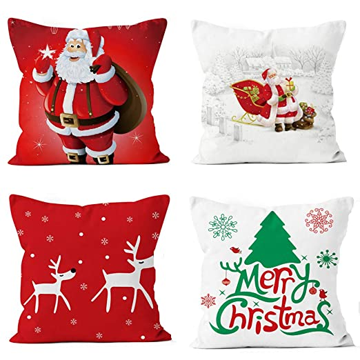 UNIQME Merry Christmas Pillow Covers Winter Decorative Throw Pillow Case Santa Clause Deer Cushion Cover for Sofa Bedroom Car Decoration Set of 4, 18 x 18 Inch