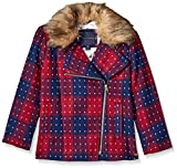 Tommy Hilfiger Big Girls' Short Wool Car Coat, Red Berry, Medium/8/10