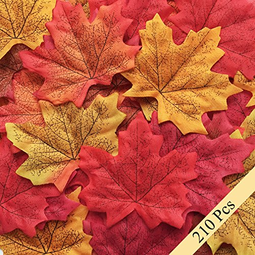 Bassion 210 Pcs Assorted Mixed Fall Colored Artificial Maple Leaves for Weddings, Events and Decorating (Decorative Leaves)