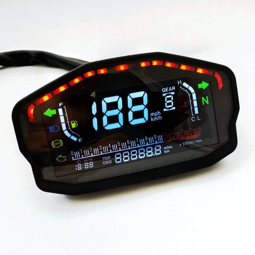 Biggystar Motorrad LCD Digital Instrument Farbdisplay LCD Tacho Kilometerz/ähler 1-6 Geschwindigkeit Wassertemperatur /Ölz/ähler 2 Zylinder 4 Zylinder Universal
