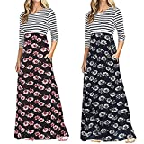 HHmei Elegant Casual Summer Stripe Patchwork Dress Evening Party Prom Casual Autumn