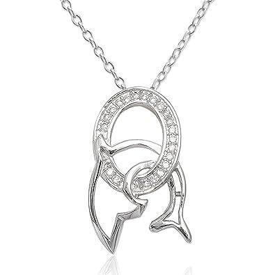 e81b809d4164 EYS JEWELRY® collar para señora 60 cm delfín 23 x 13 mm Zirconia plata de  ley 925 en rodio cristal-blanco con la caja mujer  Amazon.es  Joyería