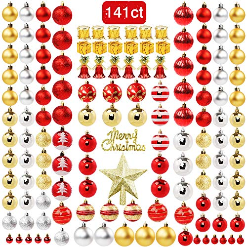 FUNARTY 141ct Christmas Ball Ornaments Assorted Shatterproof Christmas Tree Balls Decorations with Gift Package for Xmas Tree Holiday Wedding Party (Red Gold Silver) (Silver Red Tree And Xmas)