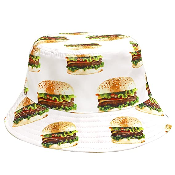 9b9911d6195 City Hunter Bd1950 Food Bucket Hat - White Hamburger  Amazon.in ...