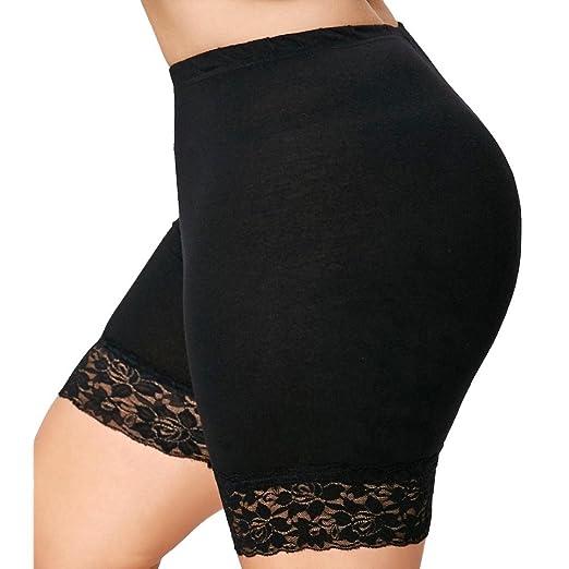 e2c3a701a54 BSGSH Womens Under Skirt Pants Plus Size High Waist Soft Stretch Lace Hem  Yoga Active Short