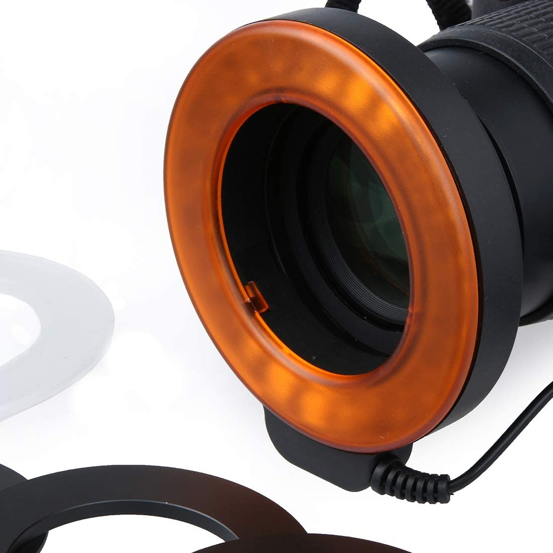 49mm//52mm//55mm//58mm//62mm//67mm Color : Orange for Macro Lens Orange Huamentalliance Camera Acccessories Flashes/&Accessories Circular LED Flash Light with 48 LED Lights /& 6 Adapter Rings