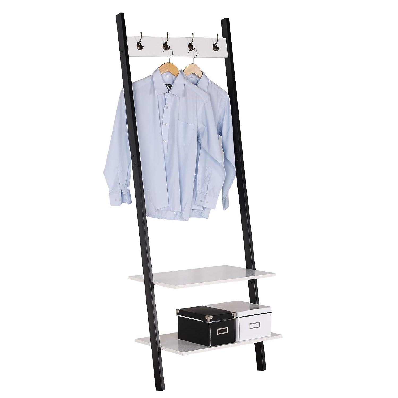 WOLTU SR0064ws Handtuchständer Garderobenständer Kleiderständer Badregal Schuhregal mit Ablagen, mit 4 Hacken, aus Holz und Stahl, Hängeregal, Schwarz + Weiß