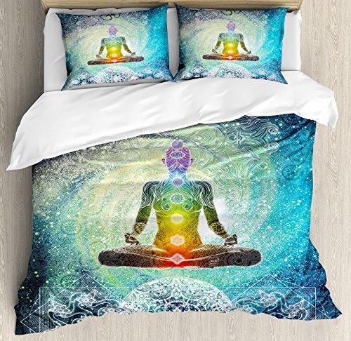 (Ambesonne Yoga Duvet Cover Set King Size, Mandala Design Zen Meditation Hippie Style with Sign Chakra Art Print, Decorative 3 Piece Bedding Set with 2 Pillow Shams, Turquoise Dark Blue White)