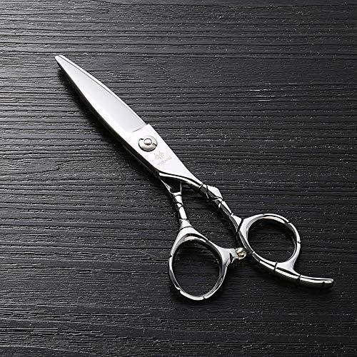 ヘアカット鋏 はさみ 6インチのステンレス鋼のランセットの脂肪質の平らなせん断、美容院の専門の上限の理髪はさみ ヘアトリミングシザー (Color : Silver)