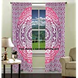 Exclusive Indian Pink Ombre Mandala Tapestry Large Wall Hanging Hippie Window Curtain Valances Room Divider 2 Pc Panel Set , Cotton Window Treatments