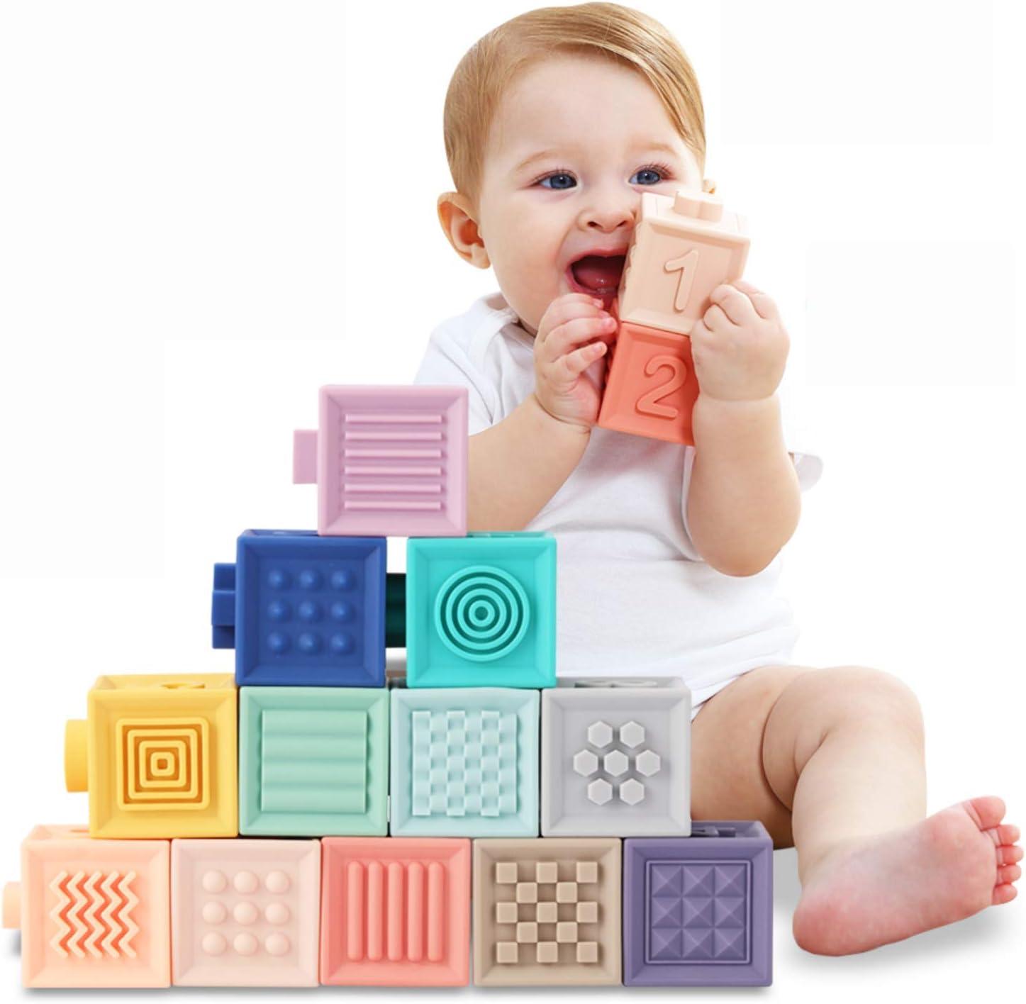 Tumama Bloques de bebé Bloques de construcción Suaves Juguetes de bebé Mordedores Juguete Educativo Jugar con números Animales Formas de Texturas 6 Meses y más 12PCS