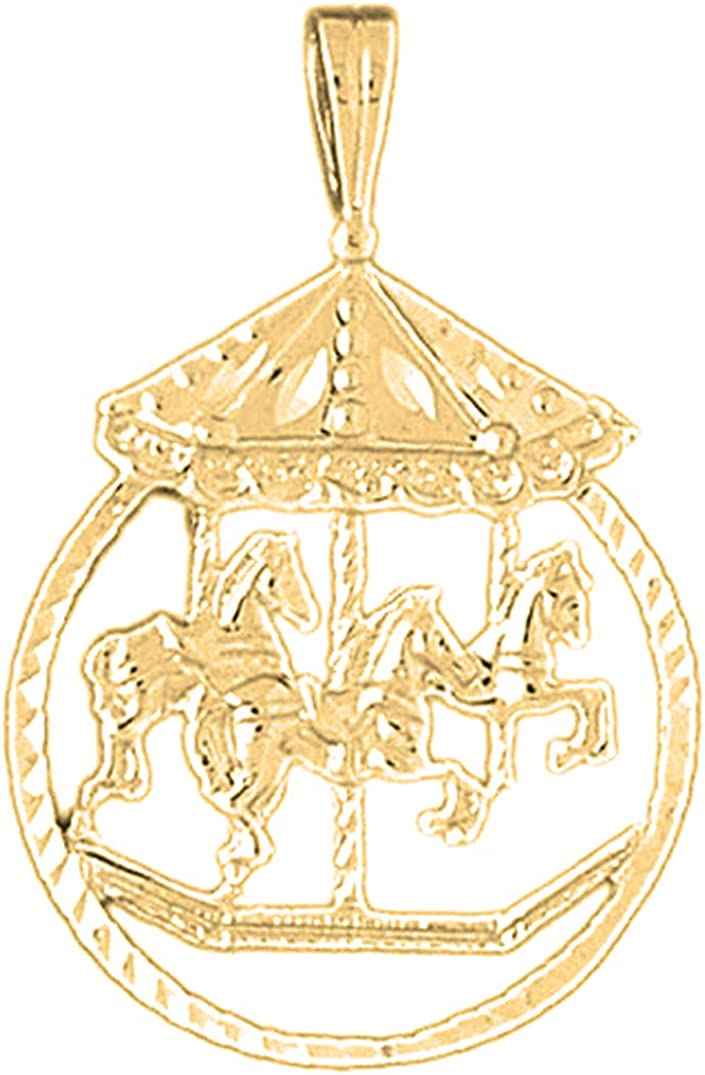 14K Yellow Gold-plated 925 Silver Carousel Horse Pendant Jewels Obsession Silver Carousel Horse Pendant