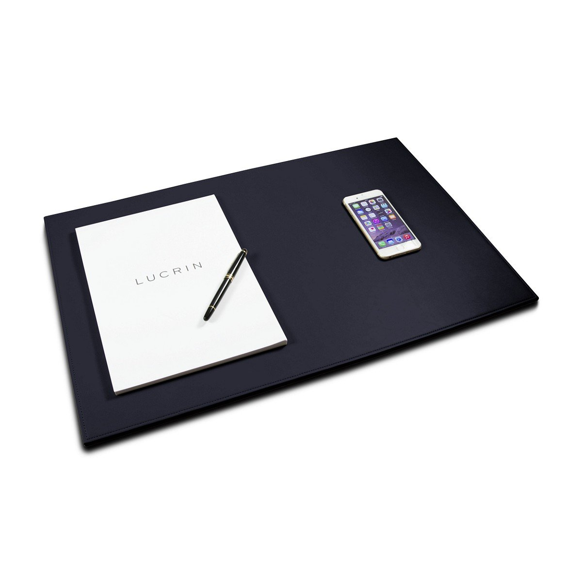Lucrin - Rigid Desk Pad Blotter 23.6 x 15.7 inches - Navy Blue - Smooth Leather