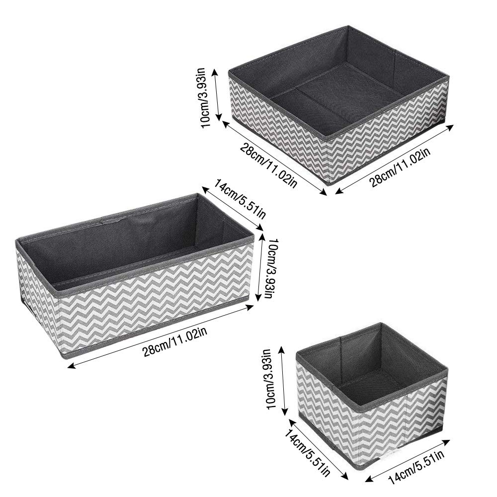 6 PCS Dresser Drawer Organizer Armario de tela Ropa interior Organizadores para calcetines Ropa interior Sujetadores Lazos Juguetes Gobesty Cajas Organizador de Cajones