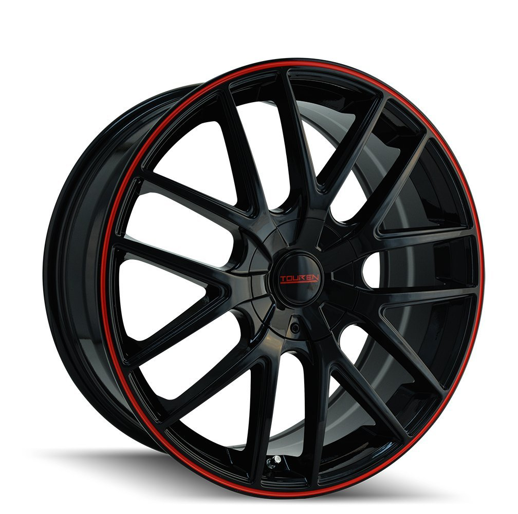 """Touren TR60 3260 Wheel with Black Finish with Red Ring (18x8""""/5x112mm)"""
