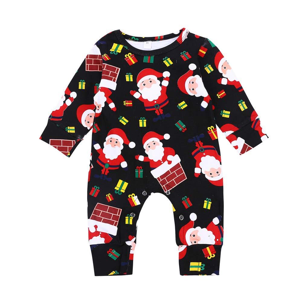 Newborn Baby Boys Girls Christmas Jumpsuit Romper 0-18 Months Mingfa Cute Cartoon Santa Claus Print Long Sleeve Pajamas
