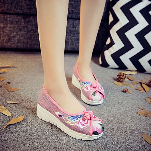 Rose Broderie Sneaker Baskets Main Femmes Fait Bateau Ballerine Chaussures Compensé Wedge Fluer Icegrey Basse Ox7Yz7