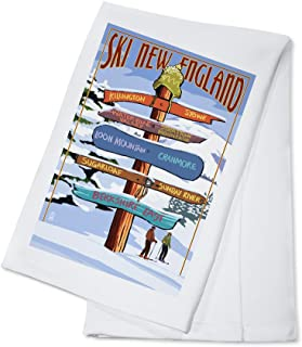 product image for New England - Ski Areas Destinations Sign (100% Cotton Kitchen Towel)