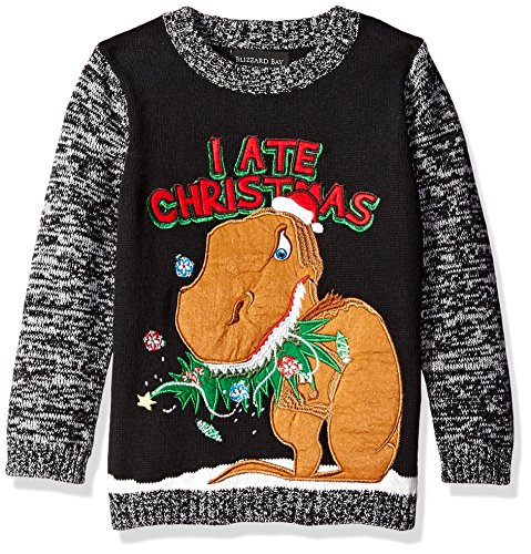 Blizzard Bay Boys' I Ate Christmas, Black/Brown, 6 (Boys Ugly Christmas Sweater)