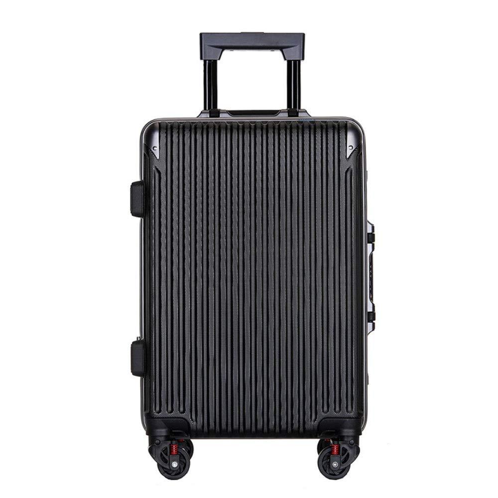 アルミフレームトロリーケース傷防止ユニバーサルホイールスーツケース男性と女性ビジネスパスワード搭乗パッケージ((20/22/24/26インチ) (Color : ブラック, Size : 20 inch)   B07RBS9G1F