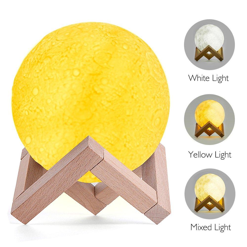 3d印刷Moon Lamp withスタンド、basein MoonライトランプWarm and Cool Lunar Moon Nightライトタッチコントロールwith USB充電ホーム装飾ライト、直径5.1インチ B075GMBXTT 17240