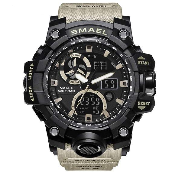 Richermall Mens Sports Analog Quartz Watch Dual Display Waterproof Digital Watches with LED Backlight relogio masculino (Khaki-Camo)