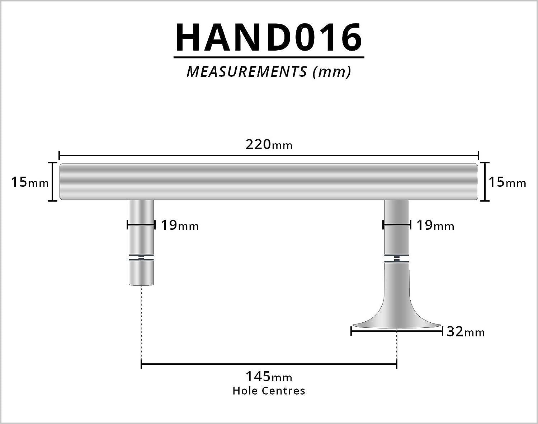 HAND016 Manija de puerta de ducha cromada apto para mamparas de ducha 145 mm centros de agujeros 220 mm de largo