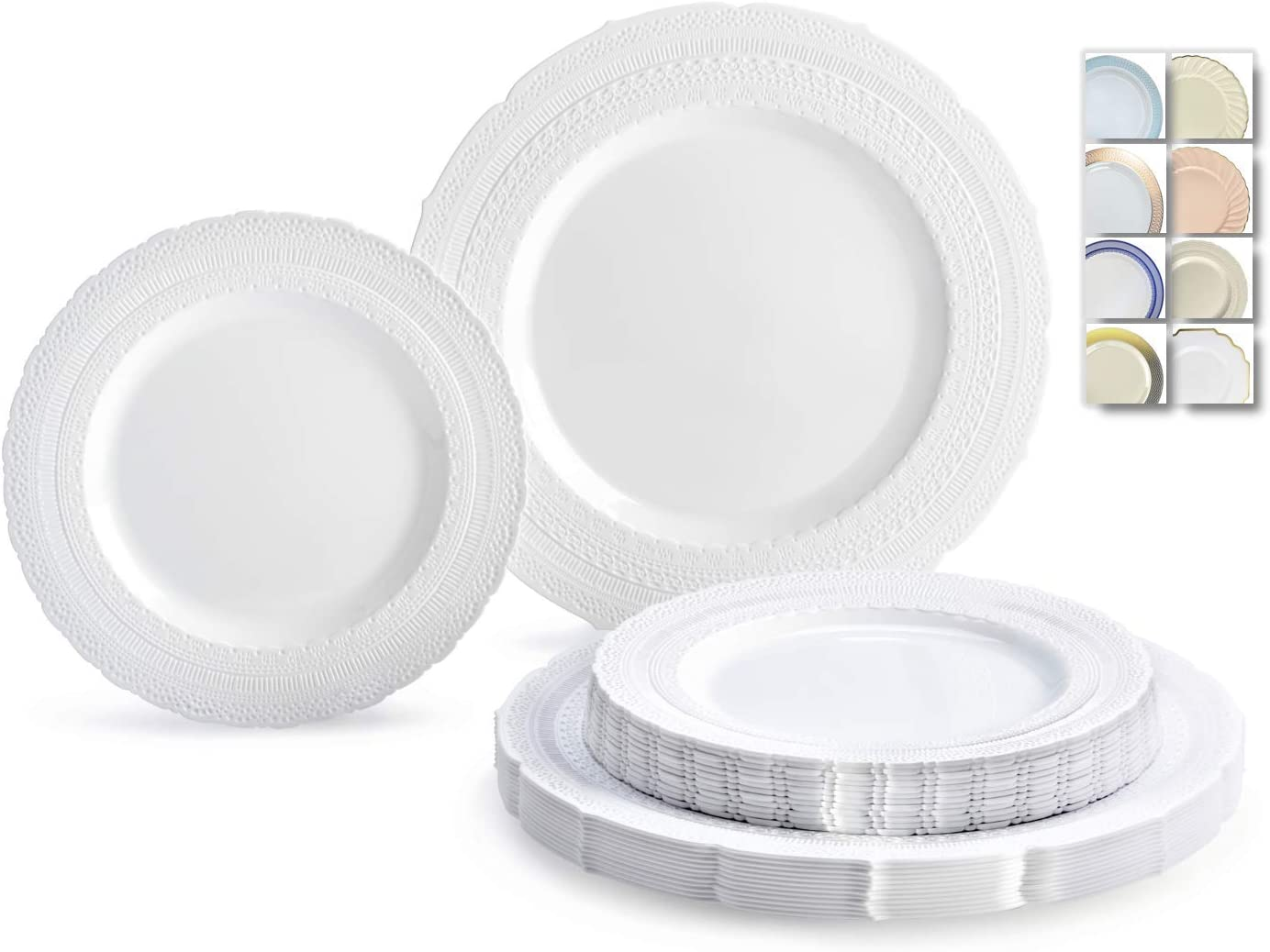 OCCASIONS 120 Plates Pack,(60 Guests) Extra Heavyweight Vintage Wedding Disposable/Reusable Plastic Plates 60 x 11'' Dinner + 60 x 8.25'' Salad/Dessert Plate (Chateau White) 61xUW6HyA8L