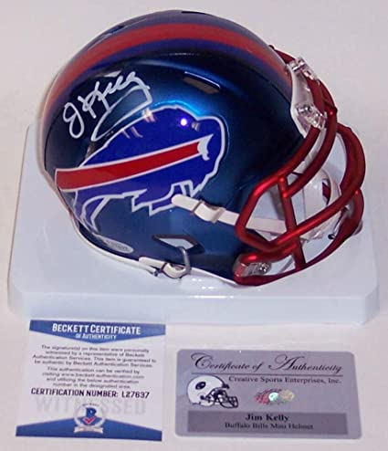 91811ab1861 Image Unavailable. Image not available for. Color  Jim Kelly Autographed  Hand Signed Buffalo Bills BLAZE Speed Mini Football ...